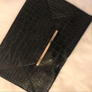 BCBG Max Azria Black Leather Envelope Clutch